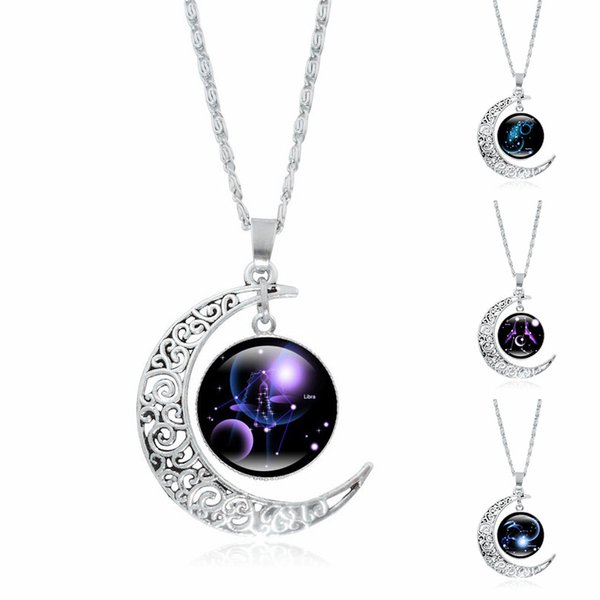 whole sale12 Constellation Necklace Zodiac Glass Cabochon Pendant Silver Crescent Moon Silver Chain Necklace Women Jewelry New Year's Gift