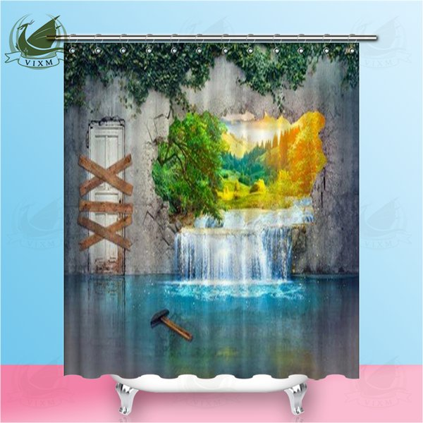 Vixm 3D Fantasy Abstract Waterfall Shower Curtains Window Scenery Beach Sunset Waterproof Polyester Fabric Curtains For Home Decor