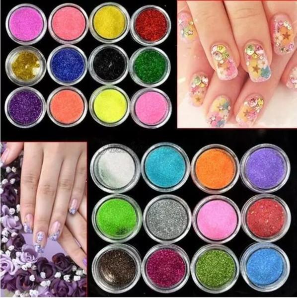 top popular 24 Colors Metal Shiny Glitter Nail Art Tool Kit Powder Dust gem Nail Tools Decoration 2020
