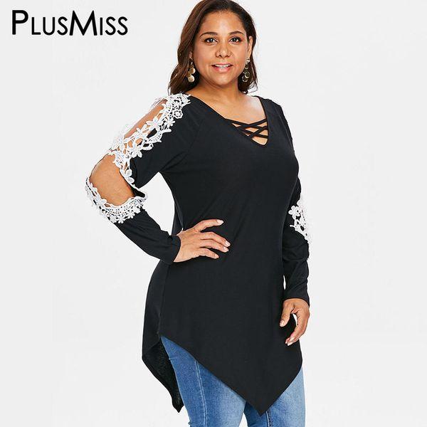 802d44d2f53a7 PlusMiss Plus Size Boho Floral Lace Crochet Long Blouse Women 5XL Cold  Shoulder Lace Up Tops Big Size XXXXL XXXL XXL Autumn 2018