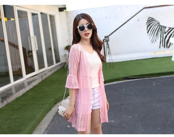 Summer 2018 new long section of the outer coat thin shawl cardigan chiffon lace blouse ride sunscreen clothing female