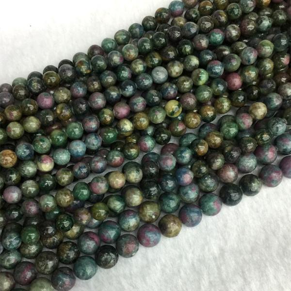 Natürliche echte mehrfarbige blau grün gelb rot Rubin Apatit Runde Schmuck lose Ball Perlen 6mm 8mm 10mm 12mm 15.5