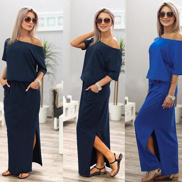 6e2d6bf2c03 Women Dress Summer Long Maxi BOHO Evening with Pocket Holiday Off Shoulder  Split Ladies Summer Beach