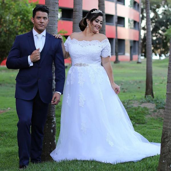 Discount Off Shoulder Plus Size Wedding Gowns Short Sleeves A Line Bridal  Gowns Back Zipper Peplum Custom Made Sweep Train Wedding Dresses Wedding ...
