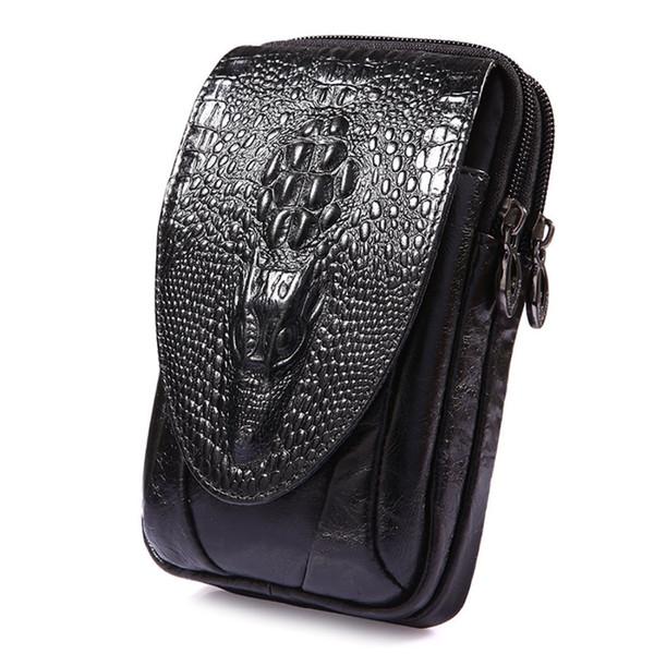 Erkekler Hakiki Deri Timsah Desen Vintage Cep / Cep Telefonu Kılıfı Cilt Kalça Kemer Bum Fanny Paketi Bel Çantası Çanta