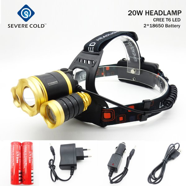 10000 lumens Rechargeable LED Zoom Headlamp T+2R5 Head Torch Cree xml T6 Head Lamp Waterproof Lights 18650 Baery Headlight