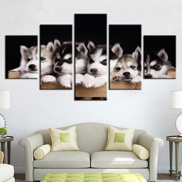 Lovely Husky Canvas Painting Unframed 5 Pieces Little Dogs Animal Print Poster Picture For Children Room Home Decor Kids Gift