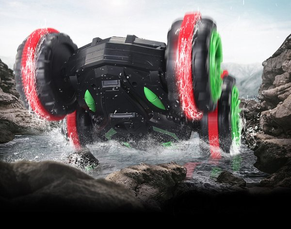 Electric power amphibious tipping bucket double faced stunting vehicle charging four-wheel drive remote control cross country climbing toy