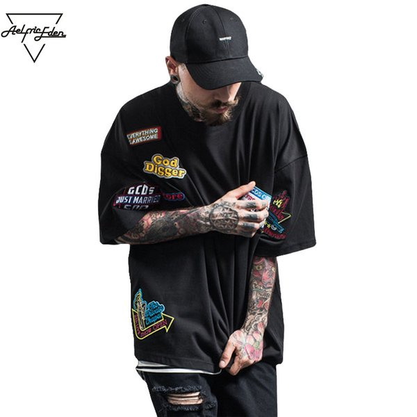 Wholesale-Aelfric Eden Hi Street Fashion Embroidery Badge Collage Man T Shirts Print Oversized T-shirt Men Loose Fitness Tops Swag Tshirt