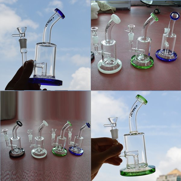 TORO Bongs Dab Rigs Glass Water Bongs Pipe Mini Oil Rig 7.48 inch Tall Bubbler Inline Perc Recycler Fixed Downstem Rigs with 14mm Male Bowl
