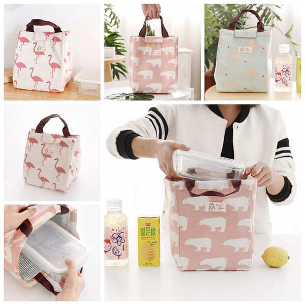 Insulated Lunch Bag Lovely Bear Flamingo Insulated Drawing String Lunch Bag Picnic Pouch Bags 6 Styles OOA4569
