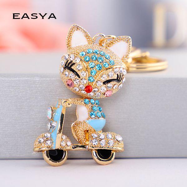 EASYA Cute Rhinestone Fox Keychain Llavero Car Key Ring Lovely Crystal Animal Key Chain Women Bag Accessories Pendant Charm
