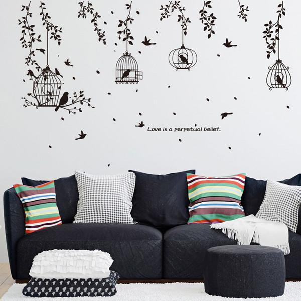 Tree Branches Birdcage Birds Wall Stickers Removable Living Room Sofa Background Wall Decals DIY Home Decor Wall Art Graphic Posters