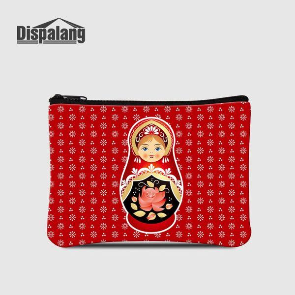 Russia Mascot Matryoshka Doll Printing Coin Purses For Women Mini Zipper Wallet For Shopping Children Cartoon Change Money Bags