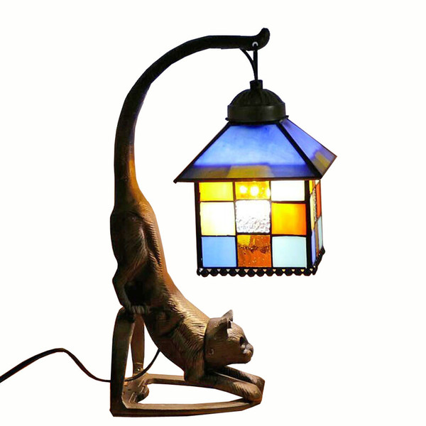 Tiffany Metal Bronze Bedroom Bedsides Table Lamp Glass Lampshade Study Room Club Desk Lamp Retro Bar Counter kitten Table Light
