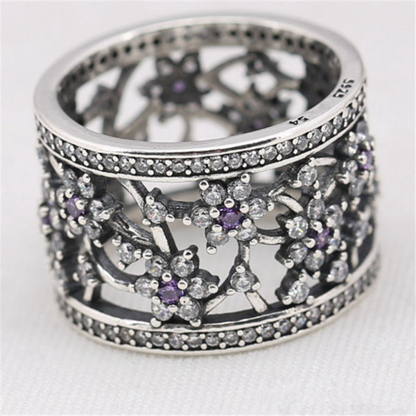 Flower Charm Ring Size Marked White Purple CZ Solid 925 Sterling Silver European Style Jewelry Findings For Pandora