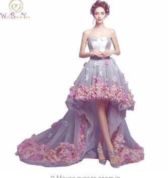 2018 Flowers Prom Dresses Short Front Long Back Evening Gown Gray Organza Fashion Party Formal Gown for Graduation