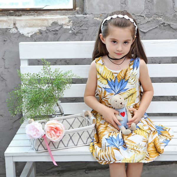 Baby Girls Dress Pure Cotton 2018 Summer Children Clothing Princess European & American Style Version Banana leaf Print Big Girls Dress