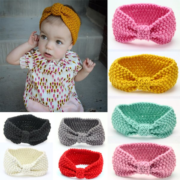 Baby Bohemia Turban Knitted Headbands Fashion protect Ear Bow Headwear Girl Hair Accessories 12 Colors Support FBA Drop Shipping D486Q