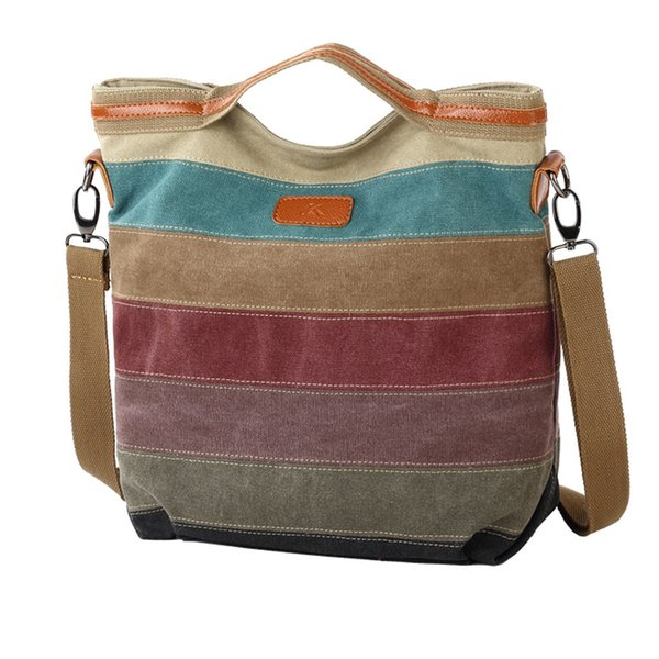Canvas Multi Zipper Pocket Oversized Simple Striped Stitching Retro Style Fashion Tote Shoulder Bags with Shoulder Strap