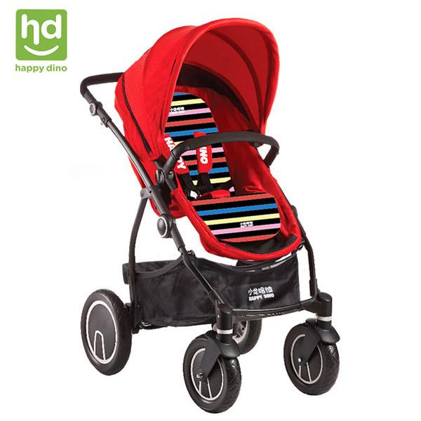 Happy Dino Luxury 2 in 1 Baby Stroller Reversible Seat Shockproof EVA Wheels Pram Bright Color Adjustable Stroller with Basket