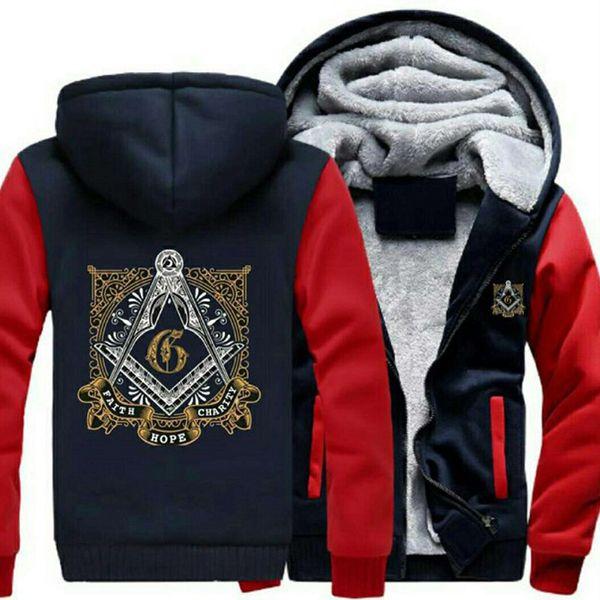 Personalidad moda Classic Masonic Logo Coat Casual con capucha cremallera Hoodies Otoño Invierno Mens Women Chaquetas