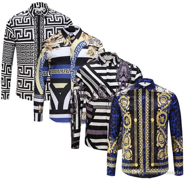 top popular Hot 2019 Brand New Slim men shirt Retro Colour 3D floral printing Fashion casual dress men shirts men's medusa shirts 2020