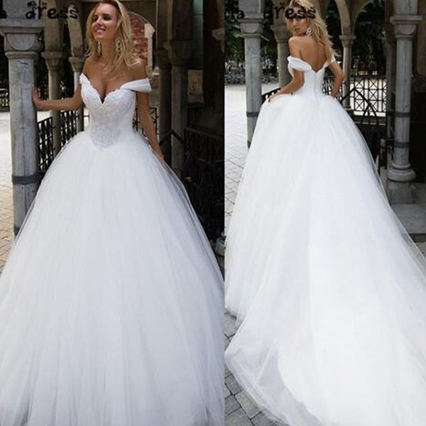 Gorgeous A-line Wedding Dresses Sweetheart Straps Off the Shoulder Beaded Soft Tulle Zipper up Bridal Gowns Court Train Custom Made