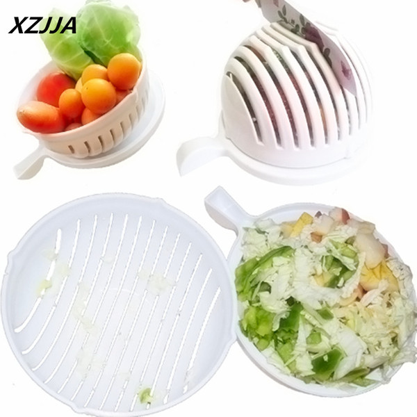 Xzjja Plastic Salad Cutting Bowl Magic Salad Maker Chop Fresh Vegetables And Fruits In Seconds Vegetable Chopper