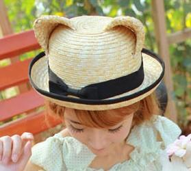 2018 Summer New Cat Ears Straw Sun Hat with Bow for Women Hand-woven Solid Beach Cap Girls UV Protection Sunhat
