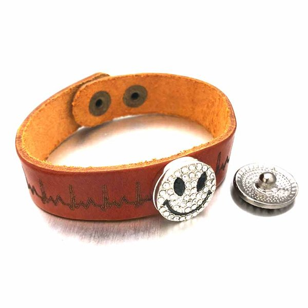 ECG Ginger 310 Really Genuine Leather Retro Fashion Bracelet Bangle Fit 18mm Snap Button Charm Jewelry For Women Teenagers Gift