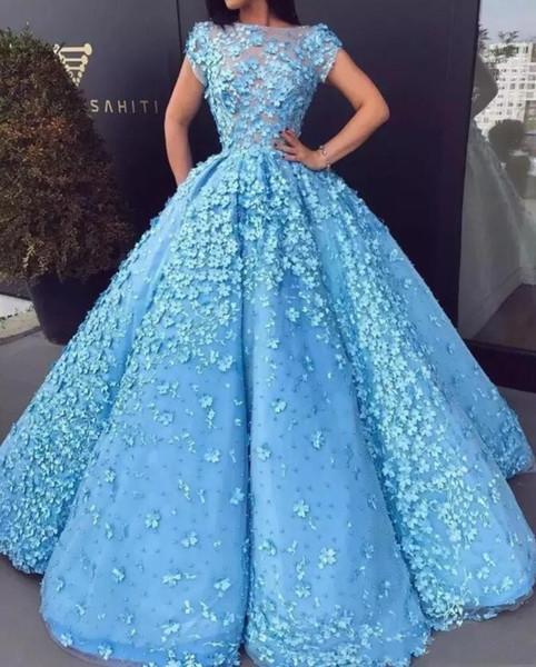 Major Perlen Brautkleider Sheer Ausschnitt Bateau 3D Floral Applikationen Cap Sleeves Formale Abendkleider Country Celebrity Quinceanera Kleider