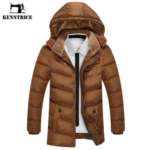 Kenntrice Marka Uzun Kapşonlu Parkas Erkekler Kış Pamuk Yastıklı Ceket Sıcak Rahat Polyester Kalın Wadded Ceket Ile Hood Artı Boyutu