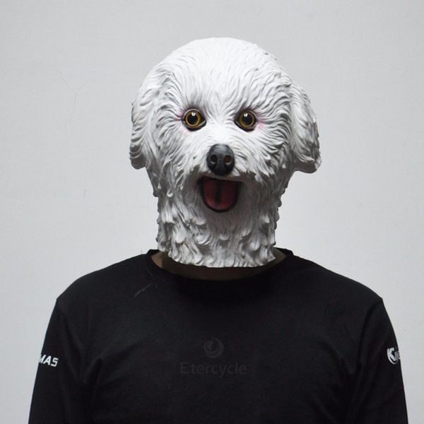 2018 Hot Sale Halloween Masks White Dog Latex Animal Mask Boy Toys Cosplay Props Party Fancy Dress