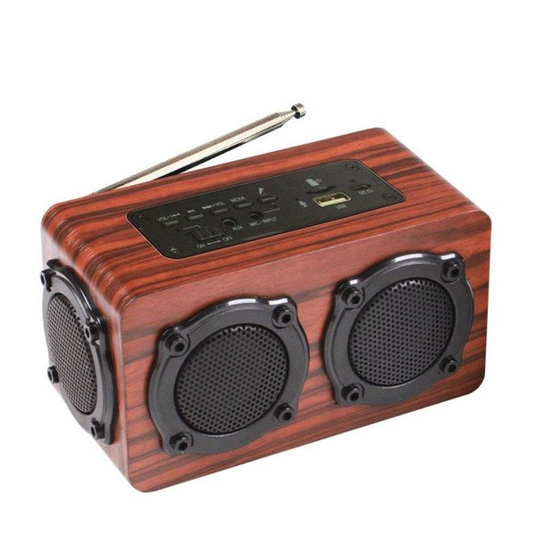 HiFi Wireless Bluetooth Speaker Wooden Bass Portable FM Radio TF Card Dual Drivers With Mic double horn bass speaker