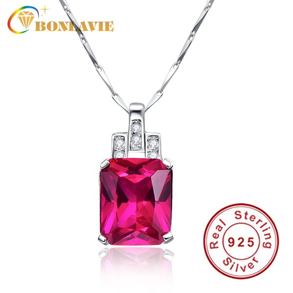 BONLAVIE 1 Piece Created Rose Red Ruby Square Pendant 925 Sterling Silver Pendant Necklace Jewelry Fine Jewelry For Women