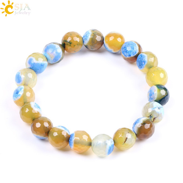 CSJA Colorful Round Bead Bracelet Women Men Stretch Bracelets Bangles Chakra Natural Agates Onyx Gem Stone Mala Beads Bohemian Jewelry F110