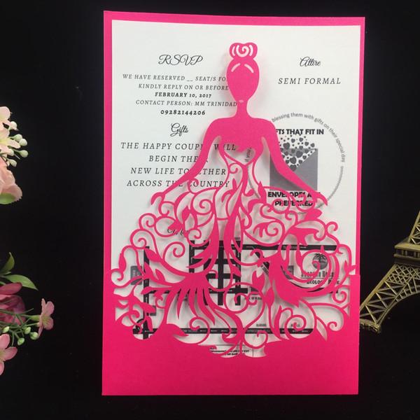 Nouveau 50 pcs / lot Livraison gratuite Laser Cut princesse fille conception de mariage anniversaire anniversaire Party papier Invitation cartes texte personnalisé