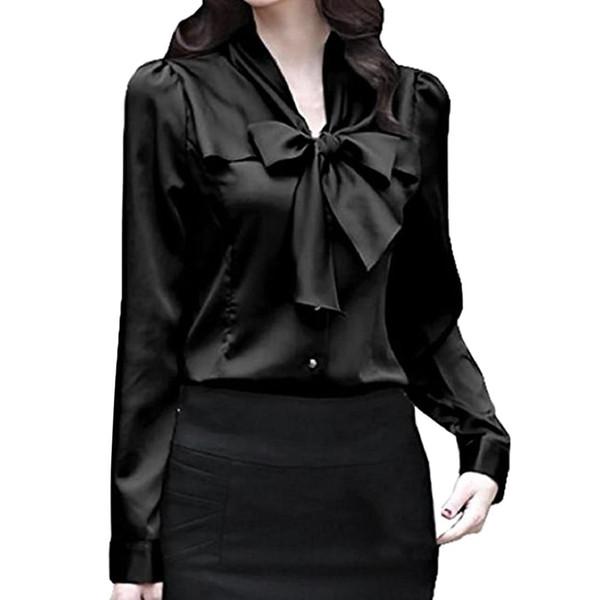 2018 nuove donne camicia di raso colletto a maniche lunghe in seta solido camicette donne usura da lavoro uniforme camicia ufficio signora semplici parti superiori del corpo
