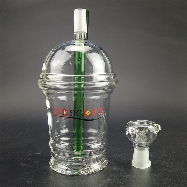 Pipetta in vetro curvo con collo a stato di vetro opzionale per l'uso ripetuto di doppio tubo di miele riciclato, bong in vetro con trivella petrolifera