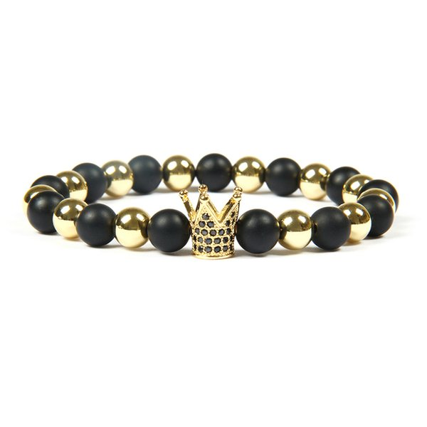 Men's Jewelry Wholesale 8mm Top Quality Matte Stone With Black Cz Crown & Stoppers Beaded Bracelets For Men's Gift
