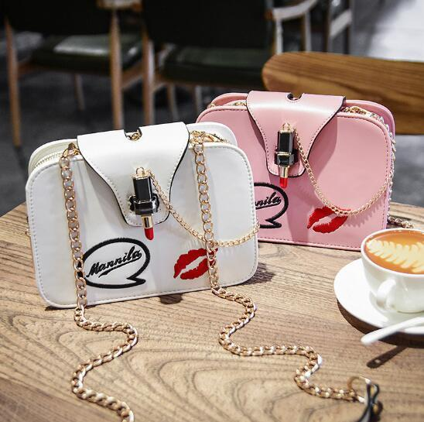 Autumn Winter New Style Handbag Korean Fashion Chain Shoulder Bag Lipstick Lock Printing Lip Prints Letter Fashion Bags