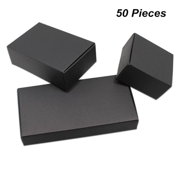 18 Tamaños 50 unidades Lote Negro Papel Kraft Jabón hecho a mano Cajas de embalaje para accesorios de joyería Regalos Cajas de fiesta para galletas de caramelo Chocolate