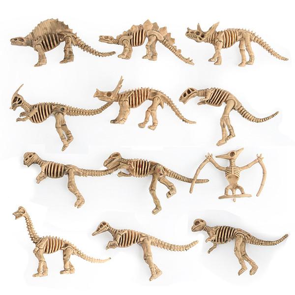 12 Unids / SET Simulación de Plástico Dinosaurios Esqueleto Modelo Set Mini Dinosaurio Modelo Figuras Niños Juguetes Educativos Favores de Decoración Del Hogar T2I389