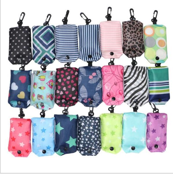 Foldable Storage Bag Reusable Easy To Carry Shopping Bags Stripe Flower Dot Pattern Handbag eco Reusable Folding Shopping Bag KKA4344