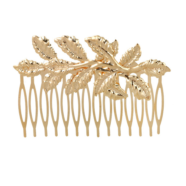 New Arrival Designer Gold Leaf Bridal Hair Combs Plastic Quality Accessories for Women Girls Wedding Bijoux Hair Jewelry Wholesale