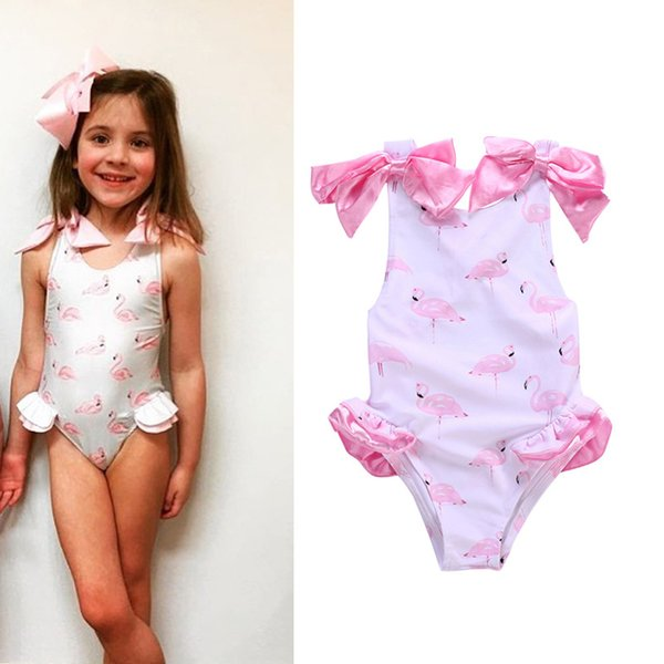 451263ad83 Baby girl One-Pieces Swimwear Flamingo Printed Kids Summer beach cloth with  Bow Toddler Swimsuit