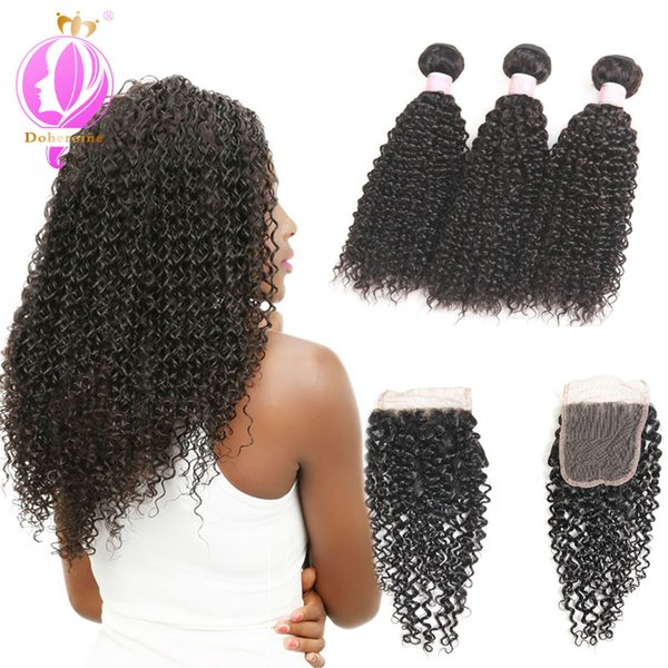 Mongolian Kinky Curly Hair Extension 100% Remy Human Hair Weaving Bundles Machine Double Weft Nature Color Free Shipping