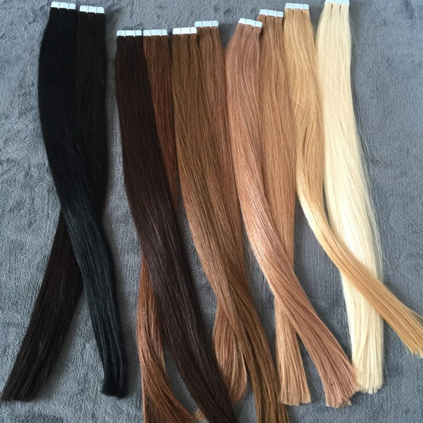 ELIBESS HAR-Extensiones de cabello de la cinta del pelo humano europeo 40pcs extensiones de cabello de la trama de la piel