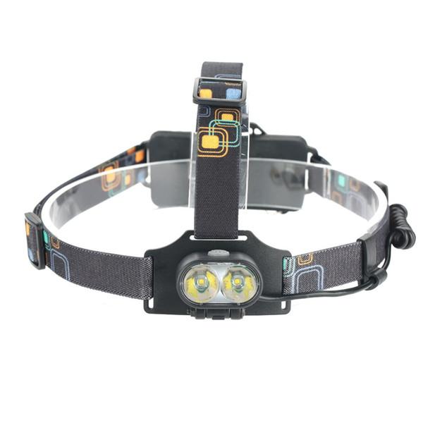 USB de carga LED faro gris portátil al aire libre Mini Head Light 3 modos de zoomable impermeable linterna apto para montañeros